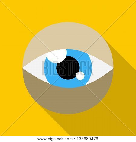 Blue eye icon in flat style on a yellow background
