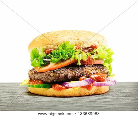 Hamburger - Homemade Burger With Fresh Vegetables