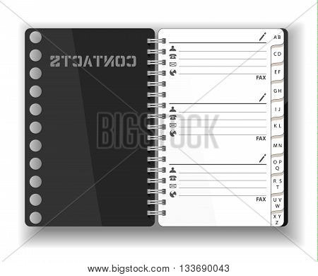 Vector. Stationery. An open Pocket diary notebook notepad organizer journal. Contacts and personal information. Isolated illustration. Blank pages