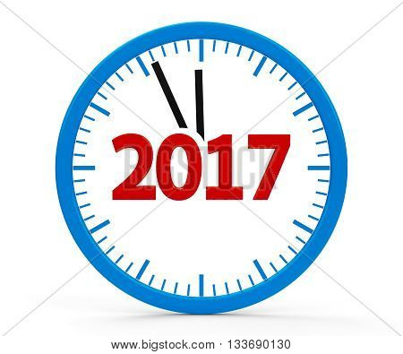 Modern isolated clock on white background represents new year 2017 three-dimensional rendering 3D illustration