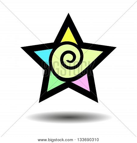Abstract five point star. Geometric shape. Colorful star. Symbol. Star sign with a swirl. Isolated illustration of a star. Vector. design element.