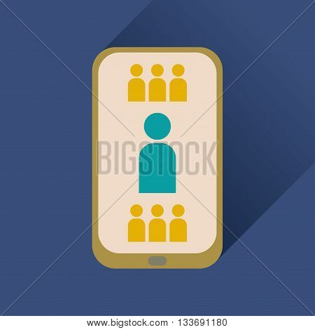 Flat icon with long shadow  mobile phone contacts