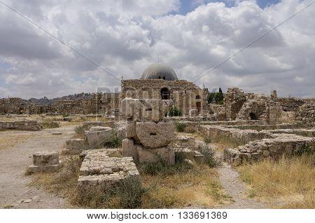 View Of Old Umayyad Palace, Jabal Al-qal'a, Citadel Hill In Amman. Jordan