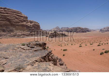 Nature, Desert And Rocks Of Wadi Rum (valley Of The Moon), Jordan. Unesco World Heritage