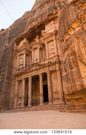 The Treasury Or Al Khazna, It Is The Most Magnificant And Famous Facade In Petra Jordan,