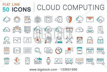 Set vector line icons in flat design with elements cloud computing for mobile concepts and web apps. Collection modern infographic logo and pictogram.