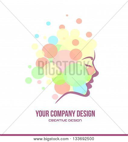 Vector company logo icon element template cosmetics beauty products woman face contour profile bubble