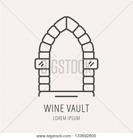 logo or label vault. Line style logotype template with vault or cellar. Easy to use business template. Vector abstract logo or emblem.