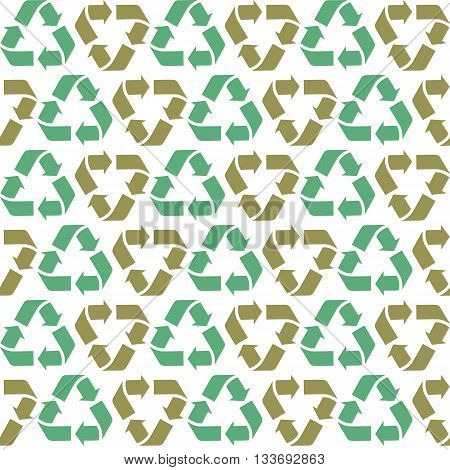 Seamless vector flat recycle background. Blue and green recycle symbols. Seamless pattern for eco design