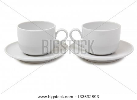 Porcelain cup with tea on white background
