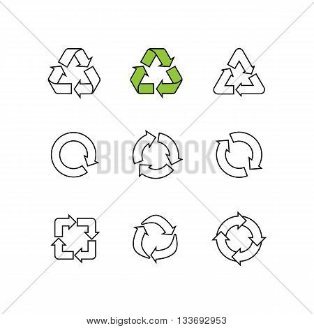 Set of sketch doodle recycle reuse symbols isolated on white. Hand drawn vector recycle icon. Recycle signs set, recycle symbols collections