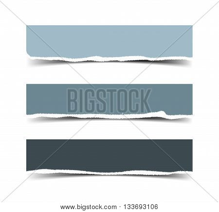 Set of three vector torn paper banners. Color ripped pieces of paper isolated on white background.