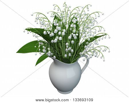 3D rendering of a lily-of-the-valley isolated on white background