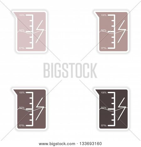 Set of paper stickers on white background  beaker energy