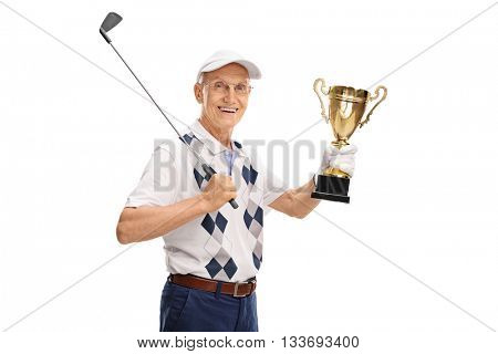 Joyful senior golfer holding a gold trophy and looking at the camera isolated on white background