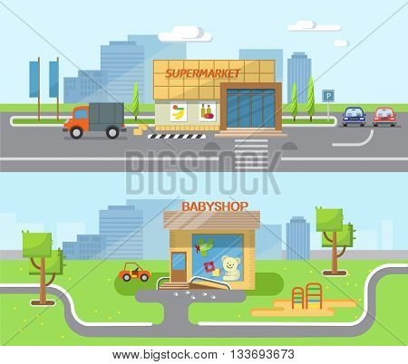 City background with shop building street. Vector flat illustration of city streets with the children's shop supermarket