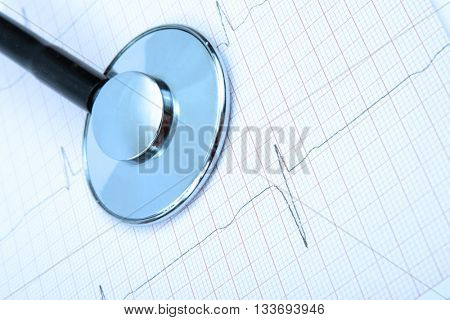 Stethoscope on chart heartbeat background