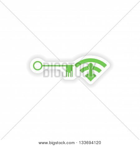paper sticker on white background  Wi fi key