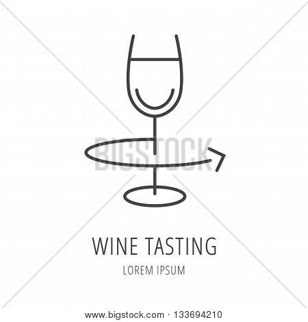 logo or label Wine tasting. Line style logotype template with wine tasting elements. Easy to use business template. Vector abstract logo or emblem.