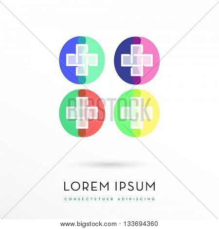 FOUR COLOR VARIATIONS OF A MODERN CROSS DESIGN INSIDE A CIRCLE WITH ABSTRACT SHAPES , VECTOR LOGO / ICON