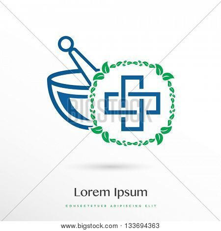 PREMIUM DESIGN OF A MORTAR AND A PESTLE , INCORPORATED WITH A CROSS SYMBOL INSIDE A LEAF CIRCLE , VECTOR LOGO / ICON