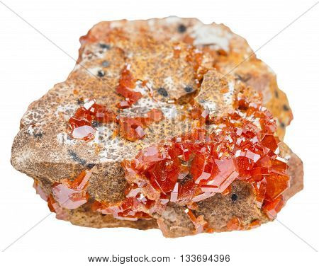 macro shooting of natural mineral stone - druse of red vanadinite crystals (vanadium ore) on rock isolated on white background