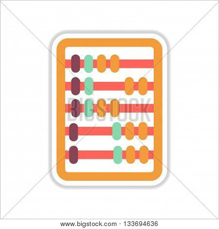 paper sticker on white  background  abacus mathematics