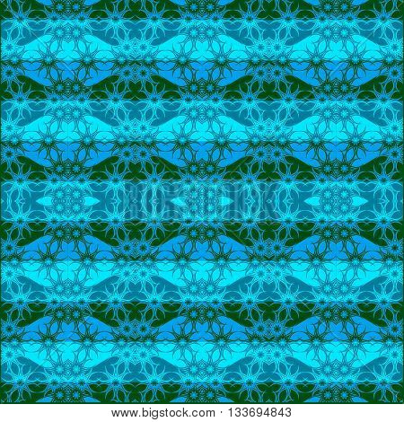 Blue seamless texture with ornate nautical pattern. Simulation of waves in vector
