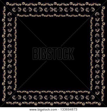 Gold Bandana Silk Scarf.