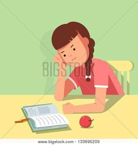 Kid reading a book at the table. Vector illustration of reading kid in the room. The girl sits at the table his head in his hand. The girl learns lessons