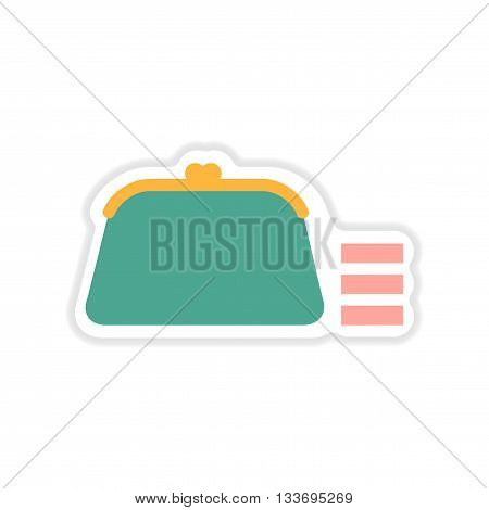 paper sticker on white  background coin purse