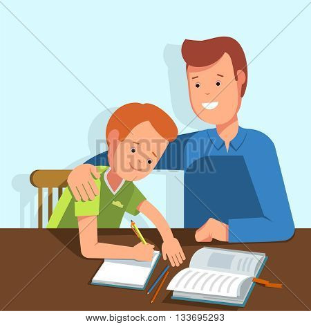 Kid learning lessons with dad. Vector illustration of a child wrote in a school notebook lessons