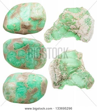 Tumbled Variscite Mineral Gemstones And Raw Rocks