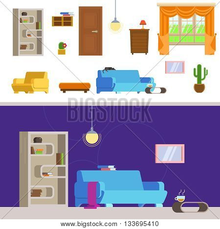 Vector illustration interior living room in the flat style. Set of detailed interior room flat. Interior living room and hallway: couch coffee table bookshelves armchair ball of wool