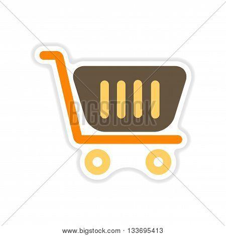 paper sticker on white  background market cart