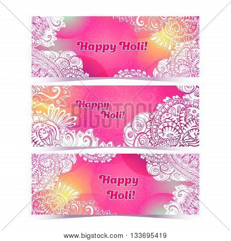 Happy Holi Horizontal Flyer Design Template, Vector Background Concept Design With Colorful Holi Zen