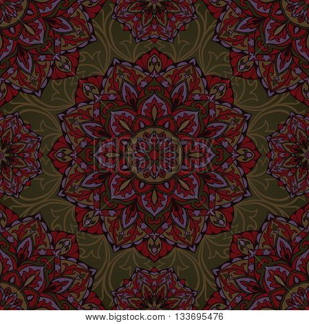 Oriental design of mandalas. Vector seamless dark ornament on green background. Template for textiles shawl carpets cushions.