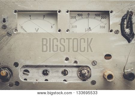 old homemade analogue voltmeter and amperemeter panel