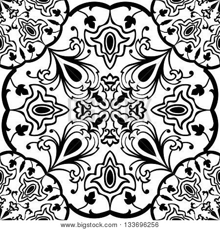 Seamless ornamental background. Eastern ornament with black lines. Template for carpet shawl tile textile. Oriental filigreed pattern.