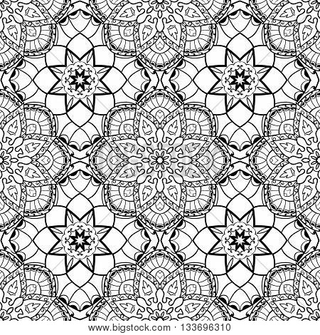 Oriental seamless pattern of mandalas. Vector black and white background. Template for textile carpet wallpaper stained glass shawls.
