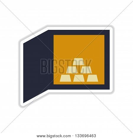 paper sticker on white  background gold bullion in safe