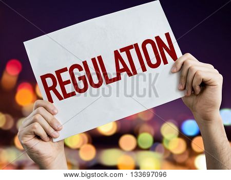 Regulation placard with night lights on background