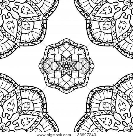 Oriental seamless pattern of mandalas. Vector black and white background. Template for textile carpet wallpaper shawls.