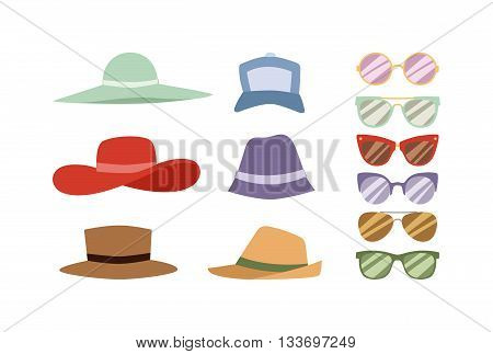 Beach accessories summer hats and sunglasses. Summer hats and sunglasses vector set. Summer hats and fashion beach travel sunglasses. Beautiful tropical lifestyle people beach accessories.