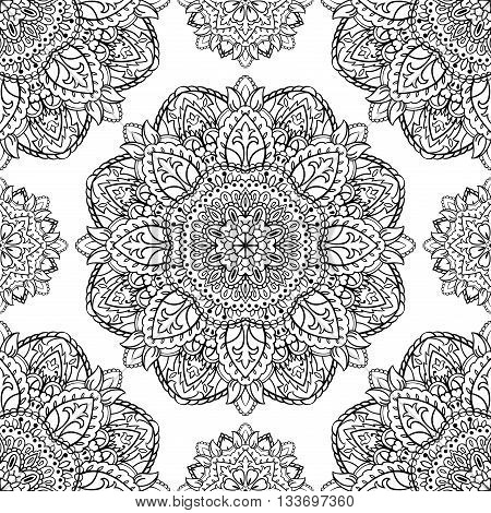 Oriental seamless pattern of mandalas. Vector black and white floral background. Template for textile carpet wallpaper shawls.