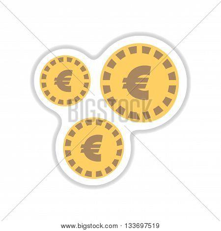 paper sticker on white  background Euro coins