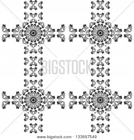 Vintage black silhouette, decorative elements with mandala tribal ornament. Vector illustration
