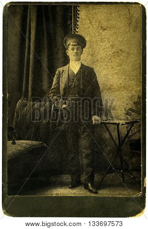 Vintage portrait of a young men. The shot was taken around 1914 year
