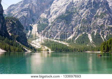 The Lake Braies in the Dolomites Italy