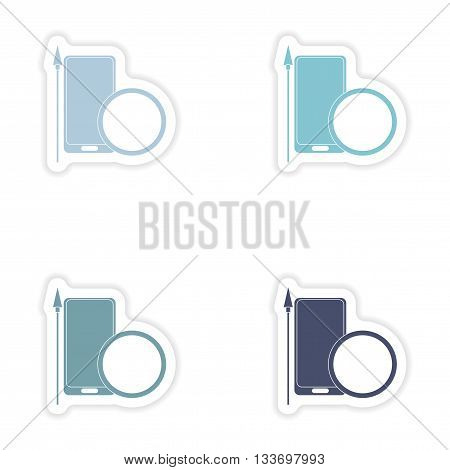 Set of paper stickers on white background    mobile antivirus